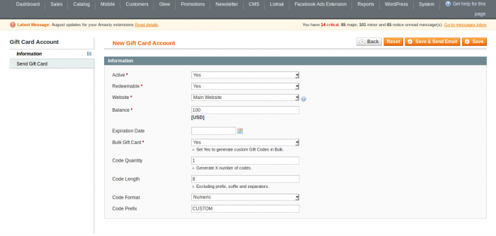 magento gift card codes in bulk