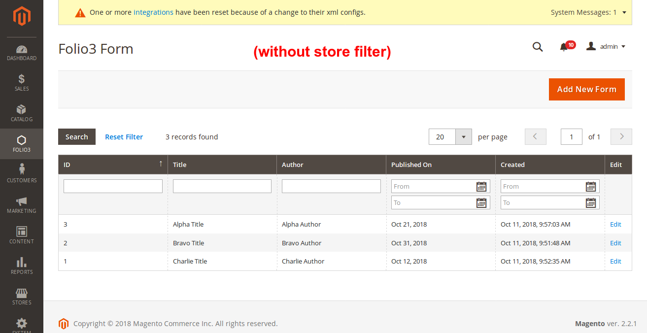Magento 2 Blog folio3 - conventional approach for store grid filter
