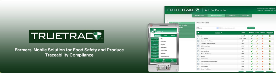 Enterprise Mobile Produce Tracability Solution for Foodlink (formerly TrueTrac)