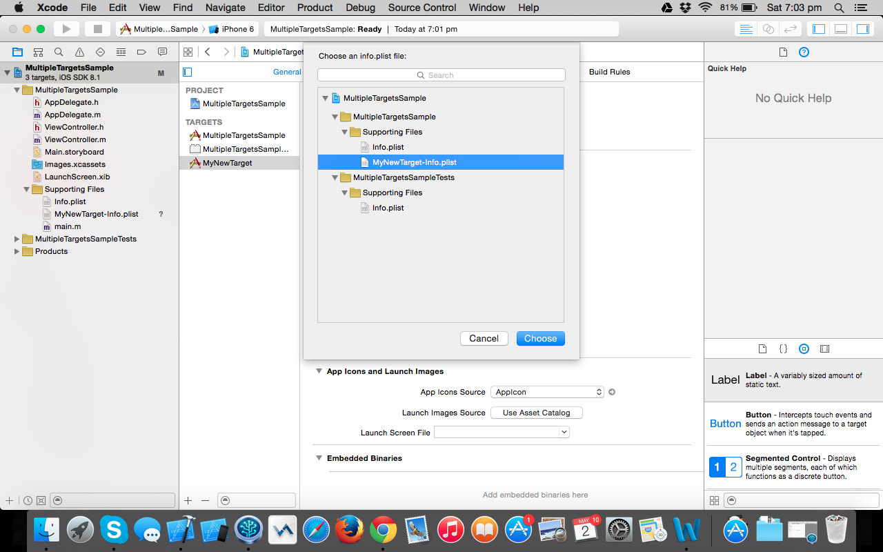 Multiple Targets in XCode