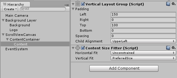 scrollable lists with new unity ui